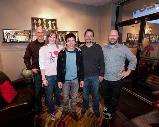 Chris Dortch and David Archuleta in the lobby of Chris's production studio