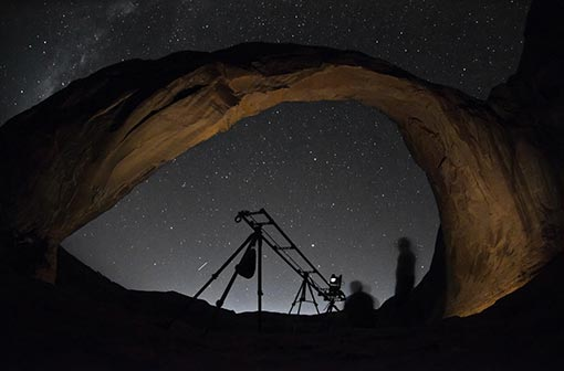 Chris Dortch set up this shot in Moab with Tom Lowe for Timescapes
